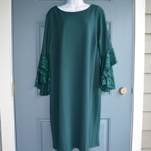 * Green Dress with Bell Sleeves by Shelby Nites